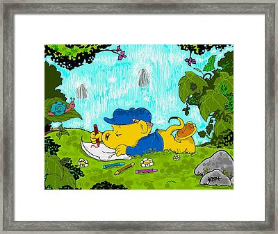 Ferald Drawing By The Waterfall Framed Print