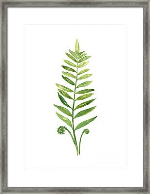 Fern Leaf Watercolor Painting Framed Print by Joanna Szmerdt