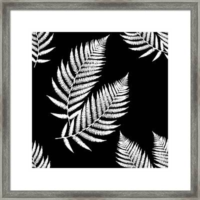 Framed Print featuring the mixed media Fern Pattern Black And White by Christina Rollo