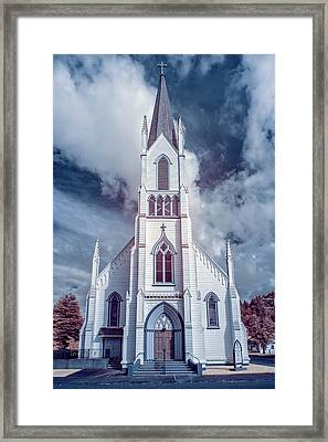 Framed Print featuring the photograph Ferndale Church In Infrared by Greg Nyquist
