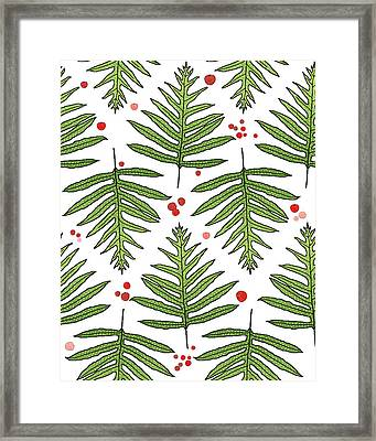 Ferns And Scattered Lychees Framed Print