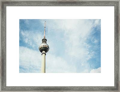 Fernsehturm Against Blue Sky Framed Print by Pati Photography
