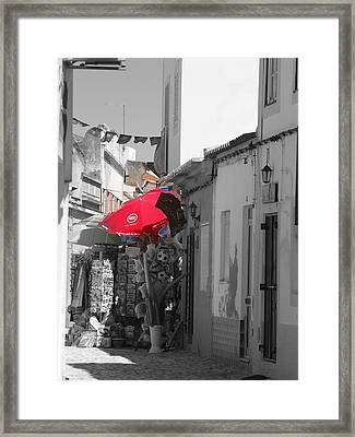 Framed Print featuring the photograph Ferragudo Stall by Michael Canning