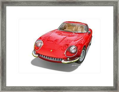 Ferrari 275 Gtb Illustration Framed Print by Alain Jamar