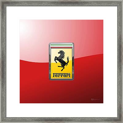 Ferrari - 3 D Badge On Red Framed Print by Serge Averbukh