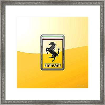 Ferrari - 3 D Badge On Yellow Framed Print by Serge Averbukh