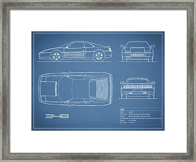 Ferrari 348 Blueprint Framed Print