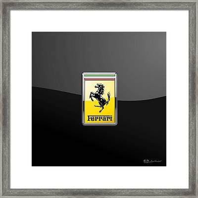 Ferrari 3d Badge- Hood Ornament On Black Framed Print by Serge Averbukh