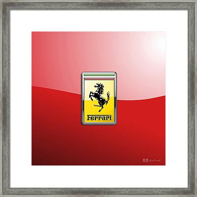 Ferrari 3d Badge-hood Ornament On Red Framed Print by Serge Averbukh