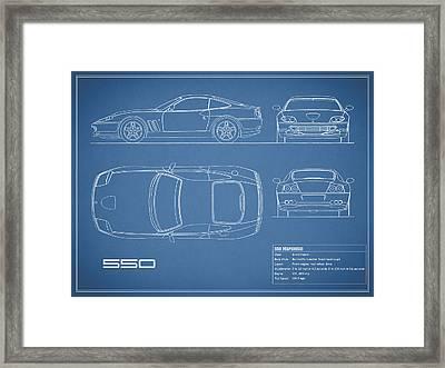 Ferrari 550 Blueprint Framed Print