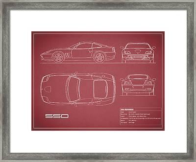 Ferrari 550 Blueprint - Red Framed Print