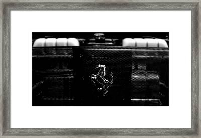 Ferrari Engine Grill Framed Print by Jeff Lowe