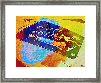 Ferrari Engine Watercolor Framed Print by Naxart Studio