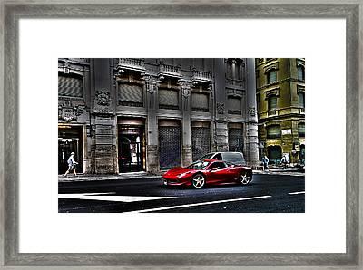 Ferrari In Rome Framed Print by Effezetaphoto Fz