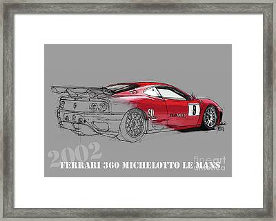 Ferrari Michelotto Race Car. Handmade Drawing. Number 9 Le Mans Framed Print