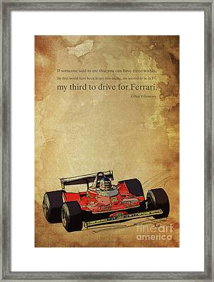 Ferrari Race Car, Gift For Men, Brown Background, Original Giles Villeneuve Inspirational Quote Framed Print by Pablo Franchi