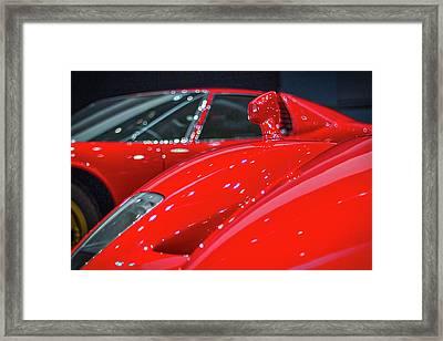 Ferraris At The Auto Show Framed Print