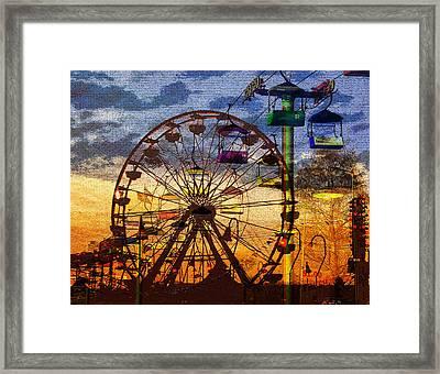 Framed Print featuring the digital art Ferris At Dusk by David Lee Thompson