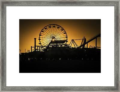 Ferris Wheel At Sunset Framed Print by Garry Gay