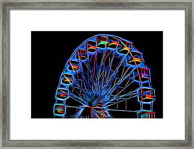 Ferris Wheel Neon Framed Print by Terry DeLuco