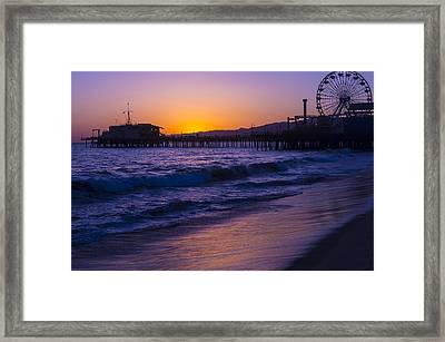 Ferris Wheel On Pier Framed Print by Garry Gay
