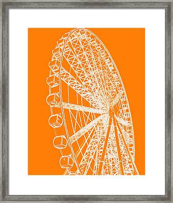 Ferris Wheel Silhouette Orange White Framed Print