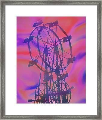 Ferris Wheel Swirly Colors Framed Print