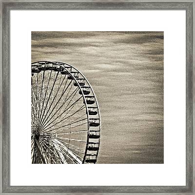 Ferris Wheel In Sepia Framed Print by Tony Grider