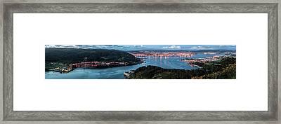 Ferrol's Estuary Panorama From La Bailadora Galicia Spain Framed Print
