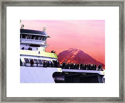 Ferry And Da Mountain Framed Print by Tim Allen
