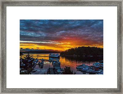Ferry Boat Sunrise Framed Print