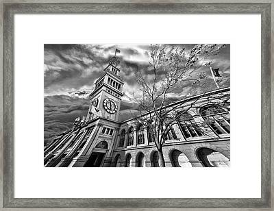 Ferry Building Black  White Framed Print