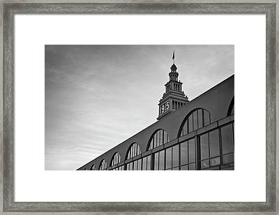 Framed Print featuring the photograph Ferry Building San Francisco I Bw by David Gordon