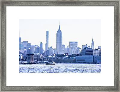 Ferry Heading Down The Hudson Framed Print by William Rogers