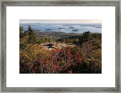 Ferry In The Sea, Bar Harbor, Porcupine Framed Print by Panoramic Images