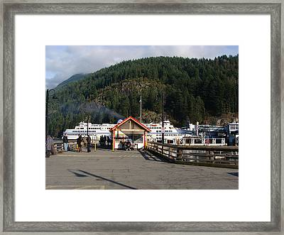 Framed Print featuring the painting Ferry Landed At Horseshoe Bay by Rod Jellison