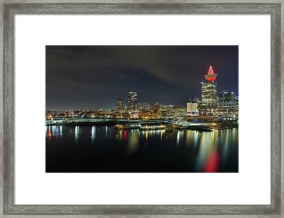 Ferry Terminal In Vancouver Bc At Night Framed Print