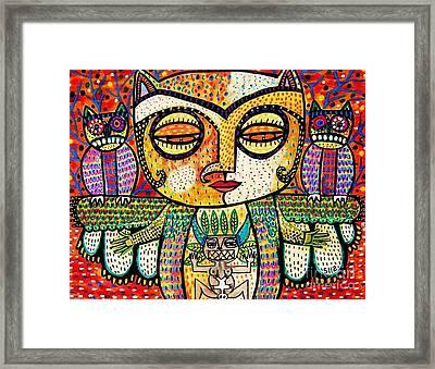 Fertility Totem Owl Goddess Framed Print by Sandra Silberzweig