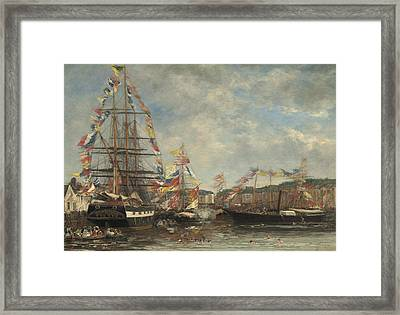 Festival In The Harbor Of Honfleur Framed Print