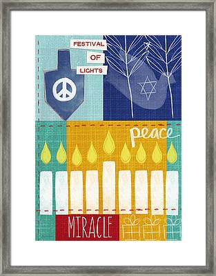 Festival Of Lights- Hanukkah Art By Linda Woods Framed Print