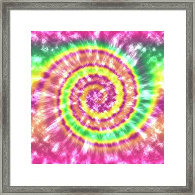 Festival Spiral Bright Colors- Art By Linda Woods Framed Print