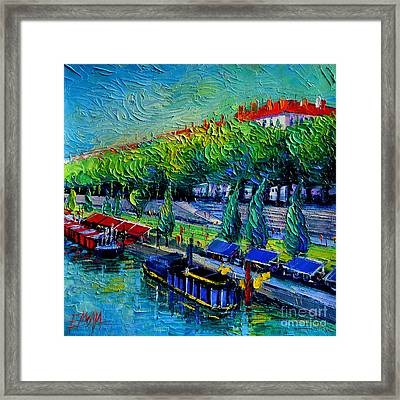 Festive Barges On The Rhone River Framed Print by Mona Edulesco