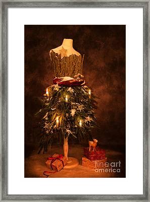 Festive Christmas Vintage Mannequin Framed Print by Amanda Elwell