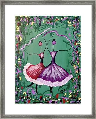 Framed Print featuring the painting Festive Dancers by Teresa Wing