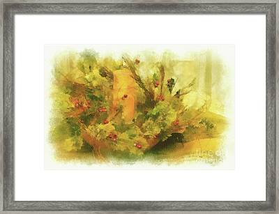 Framed Print featuring the photograph Festive Holiday Candle by Lois Bryan