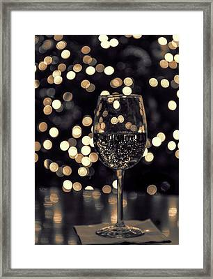 Framed Print featuring the photograph Festive White Wine by Steven Sparks