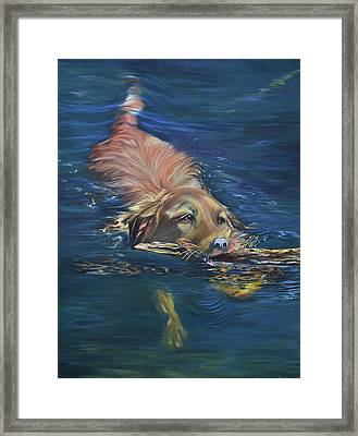 Fetching The Stick Framed Print
