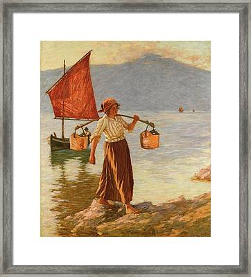 Fetching Water From Lake Garda Framed Print by MotionAge Designs