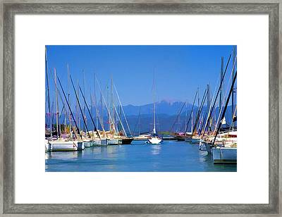 Framed Print featuring the digital art Fethiye Harbour by Rob Tullis