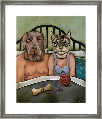 Fetish Nightmare 5 How To Train Your Dog Framed Print by Leah Saulnier The Painting Maniac